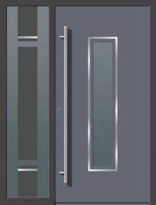 Kunststoff Haustüre Grau mit Glas