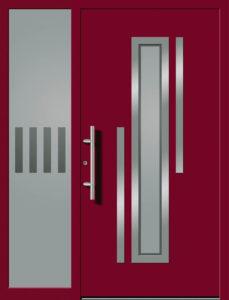 Kunststoff Haustüre Rot mit Glas